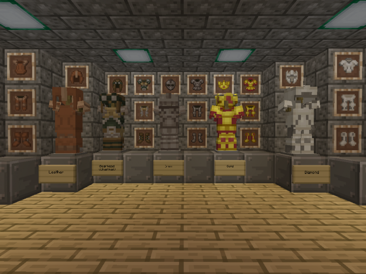 Armor Showcase - left-to-right - leather, Gearhead or chainmail, iron, gold, diamond