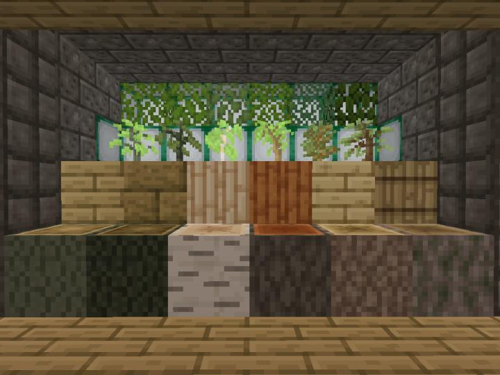 Wood Showcase - left-to-right - oak, dark oak, birch, acacia, spruce, jungle