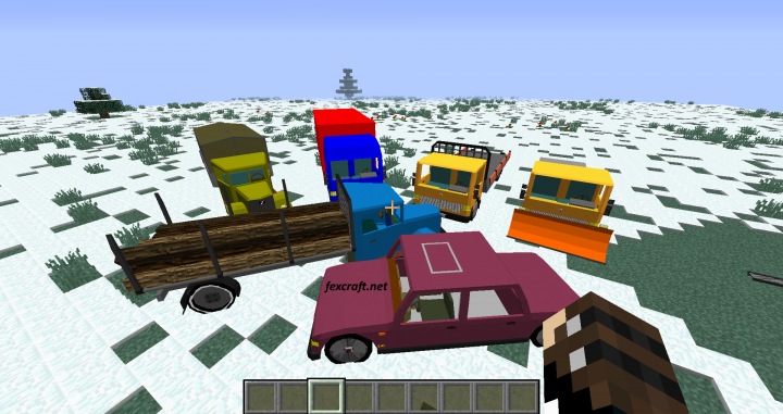 Preview of the 3 currently available by default vehicles with different part upgrades and colours.