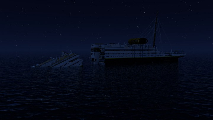 RMS Titanic sinking at 2.18 AM (breaking in half ...