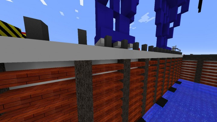 stone grey, blue wool, spruce logs and slabs