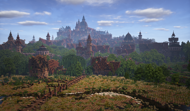 A shot of Harlond, an elven city in Middle-Earth that uses blocks in Conquest Reforged.