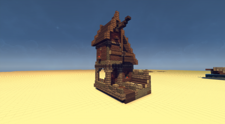 Schematic Small House With Crane Minecraft Project - Minecraft mittelalter haus schematic