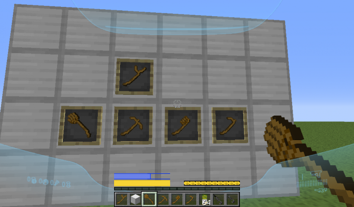 Reskinned Stick and Wooden Tools Shovel, Pickaxe, Axe and Hoe