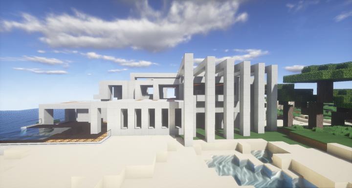 Modern Stone Mansion Minecraft Project