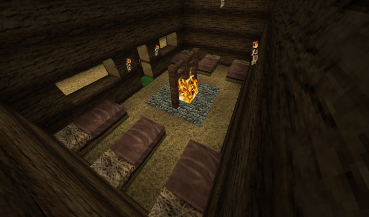 A house in Sector One with the hearth in the middle of the house.
