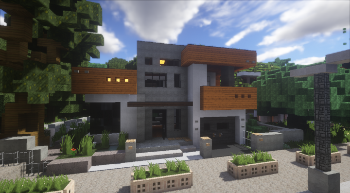 Modern Wood House Minecraft Map