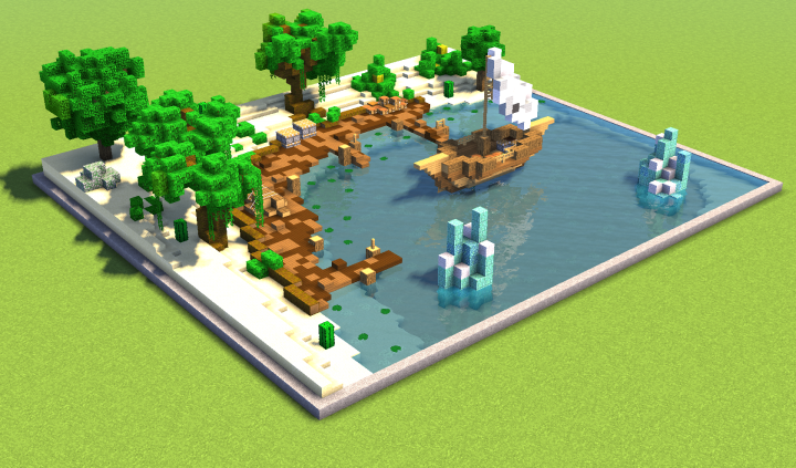 Tropical Beach (Schematic 62x54) Minecraft Project