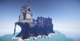 An island with a fortified town. Minecraft
