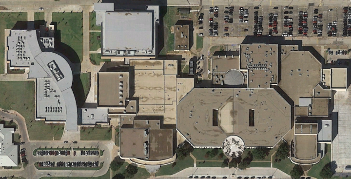 Imagery of entire building, with the new 9th Grade Campus addition on the left
