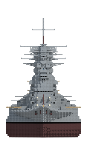 Bulge, arrangement and pagoda mast are ready evidence of the design heritage of the class. Although elements resemble the Yamato-class, the influence of the Fuso is undeniable.