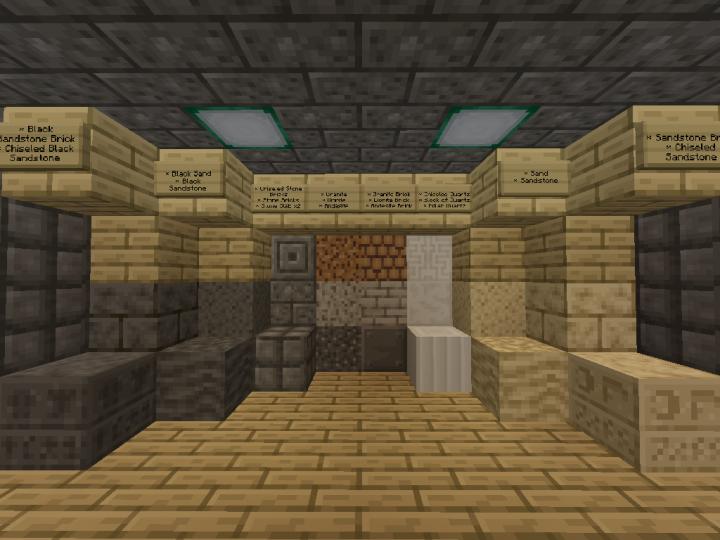 Showcase of stone, sand and quartz blocks