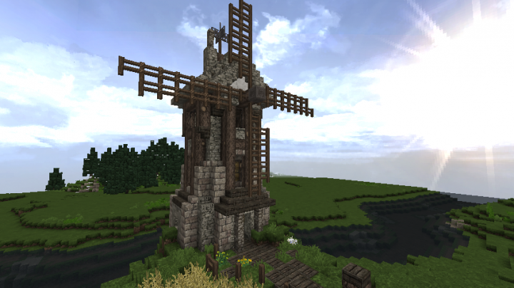 Medieval Windmill And Fields