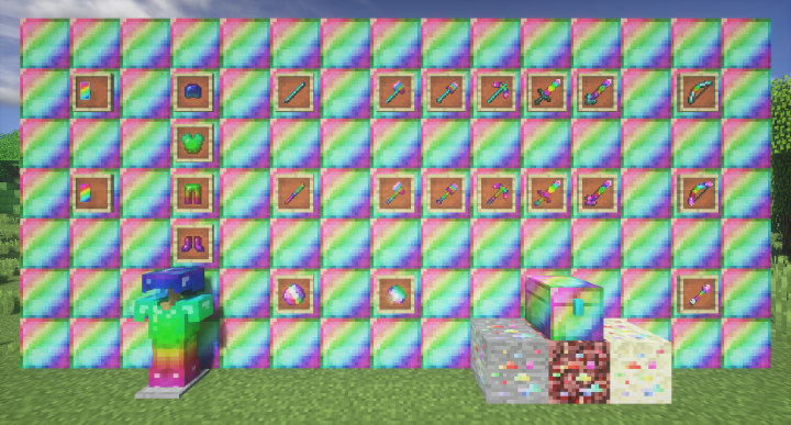 A showcase of all the items and blocks included in the Spectrite Mod