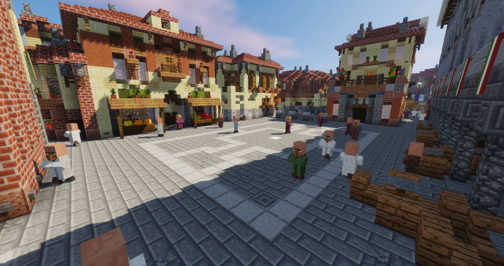 Watch all the villagers roam through the city of Venice