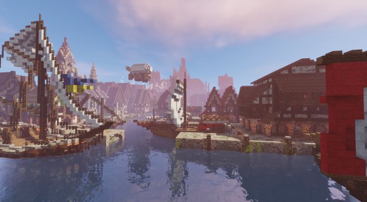 View of Grimhagen from the harbour. You can see the Cathedral in the distance! Taken by Keith with  shaders