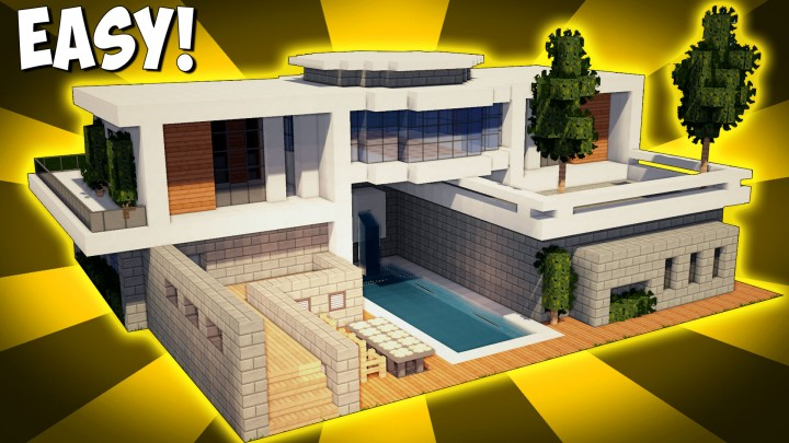 Minecraft how to build a large modern house tutorial for How to build a modern home