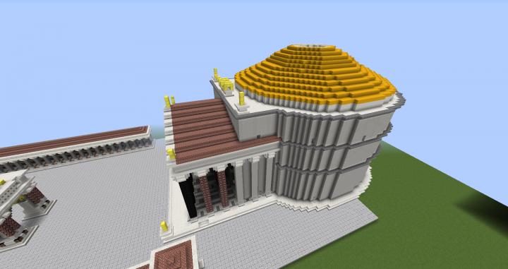the pantheon origionaly had gold plated bronze shingles covering the top before it they were italian recycled the 600s