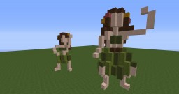 Two small hula girls statues Minecraft Project