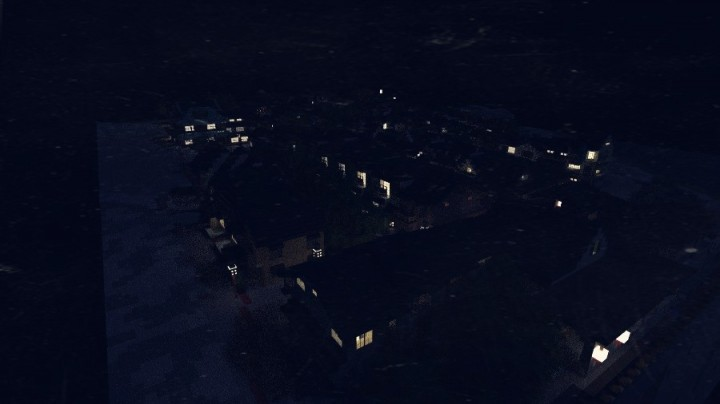 The district at night.