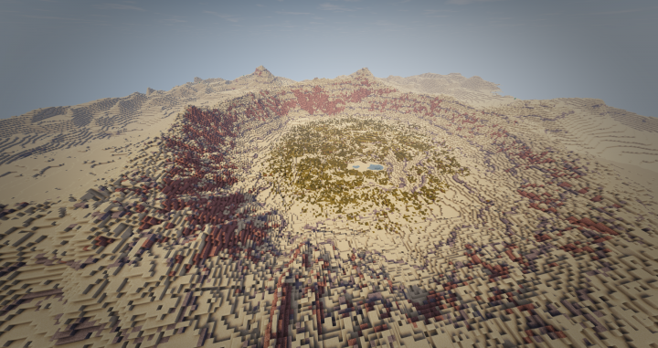 The crater of an ancient meteor can be found in the desert