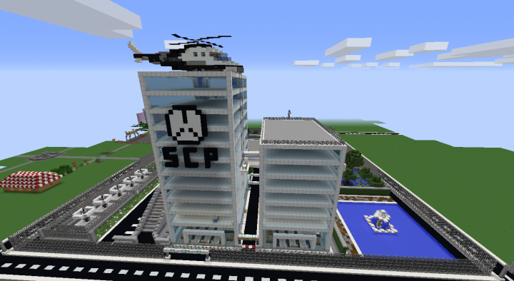 Office Facilities with SCP Logo and Helicopter on Top