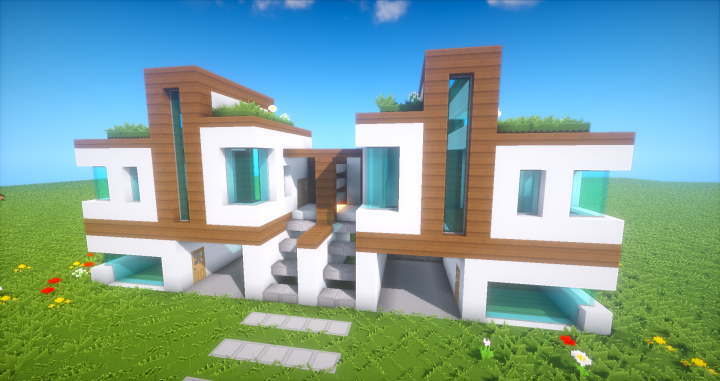 DOUBLE MODERN HOUSE WITH GARAGE Minecraft Map