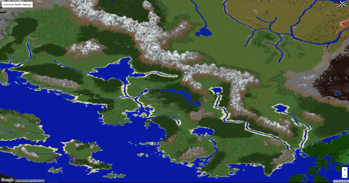 Western coast showing the difference between temperate biomes with forests, grasslands and others of sorts