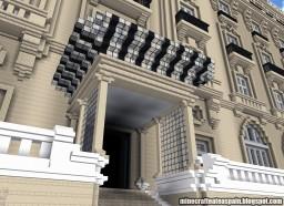 Replica Minecraft of the Hotel de María Cristina, San Sebastián, Spain.