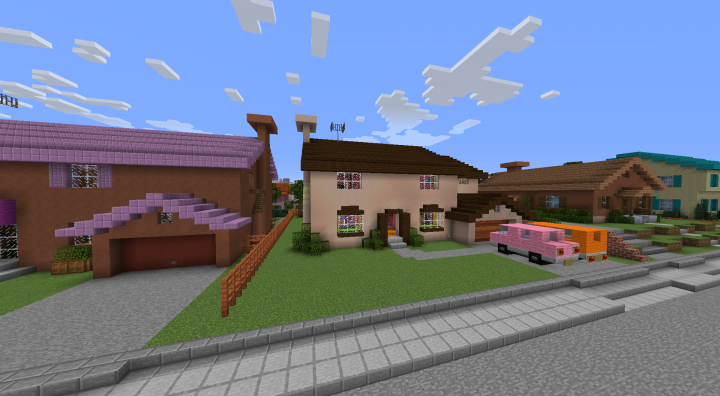 Simpson, Flanders, brown, and Hibbert houses