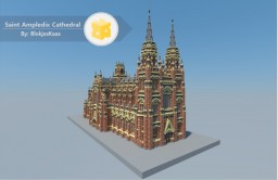 Saint Ampledix, a red Cathedral by BlokjesKaas Minecraft