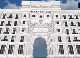 Replica Minecraft of the Banco Santander Building, Santander, Spain. Minecraft Project