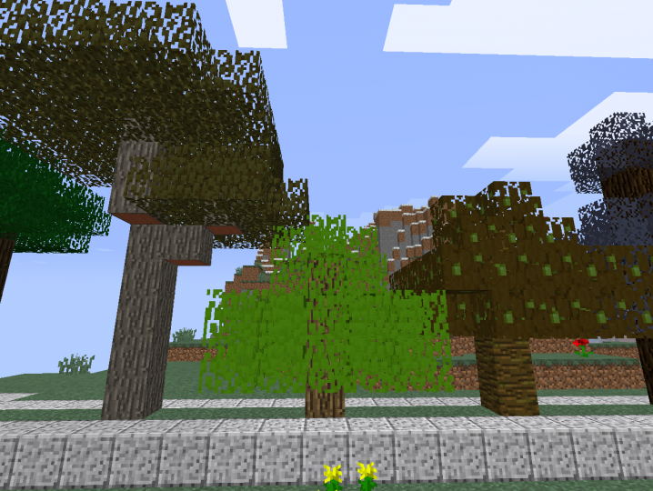 Acacia, Oak, and Jungle leaves.