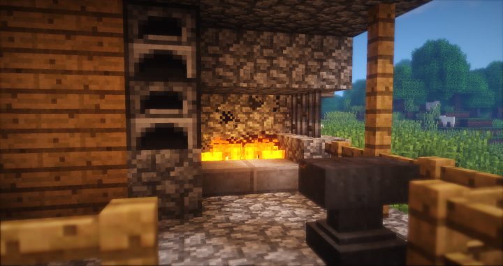The fire reflects on the iron bars and the anvil Shader Add-On, Model Add-On