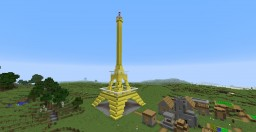 Small Golden Eiffel Tower Minecraft Project