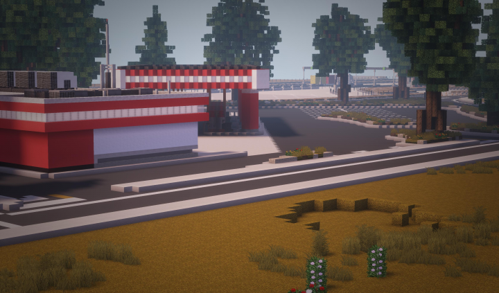 View of the gas station with the truck stop in background