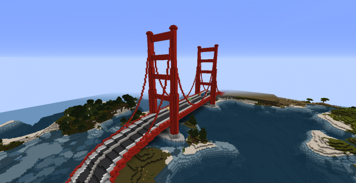 Image of: Minecraft Gate Design In Golden Gate Bridgeown Design Minecraft Project