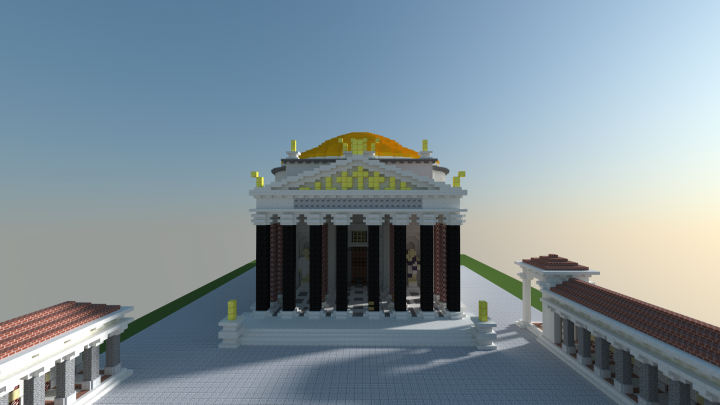 some reconstructions show an eagle in the pediment triangle in middle  more show this so thats what i went with