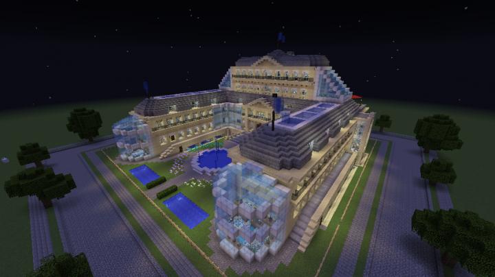 The palace at night.