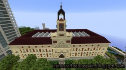 Replica Minecraft of the Post Office of Madrid (Puerta del Sol), Spain. Minecraft Map & Project