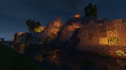 Small hand terraformed landscape with a couple small structures Minecraft Project