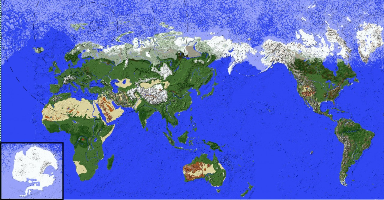 Complete Earth Map With Custom Ore Generation and Accurate Biomes