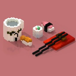 3 sushis + saké Minecraft Map & Project