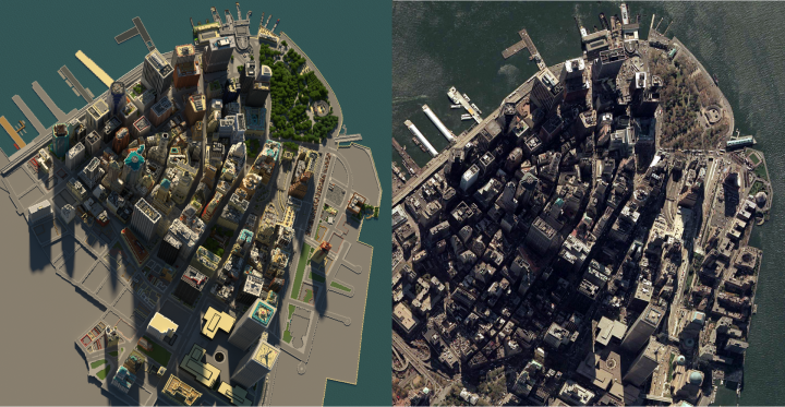 Comparison of the Aerial photo to its real life counterpart.