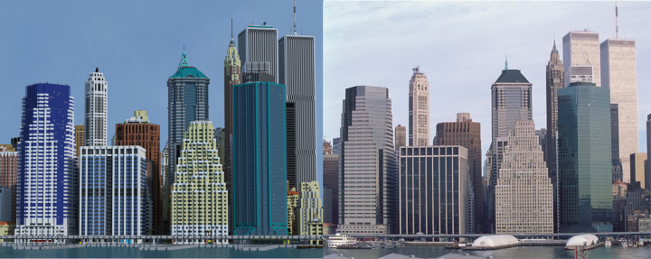 Comparison of the East River picture to its real life counterpart.