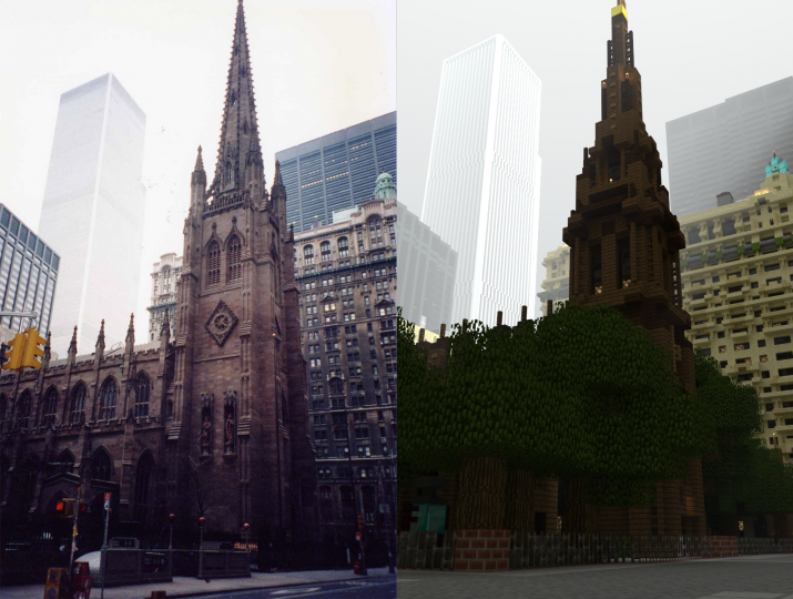 Comparison of the Trinity Church Photo to its real life counterpart mind the trees.
