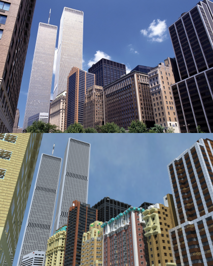 Comparison photo between the West Street photo and its real life counterpart.