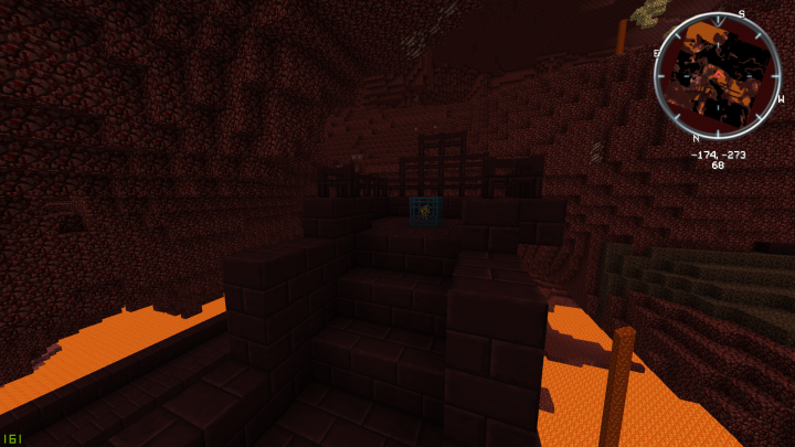 Nether Brick in a nether fortress, also featuring classic Mob Spawner.