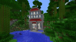 Stone house embedded in a hill on the lake Minecraft Project