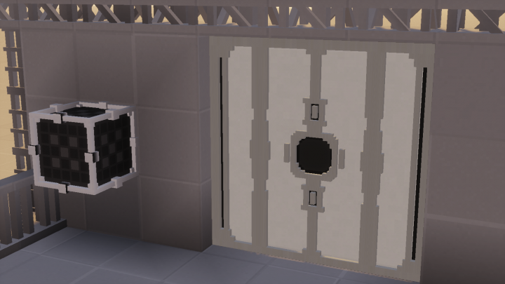 Door and DoorLock. Power the Redstone Lamp to unlock the door